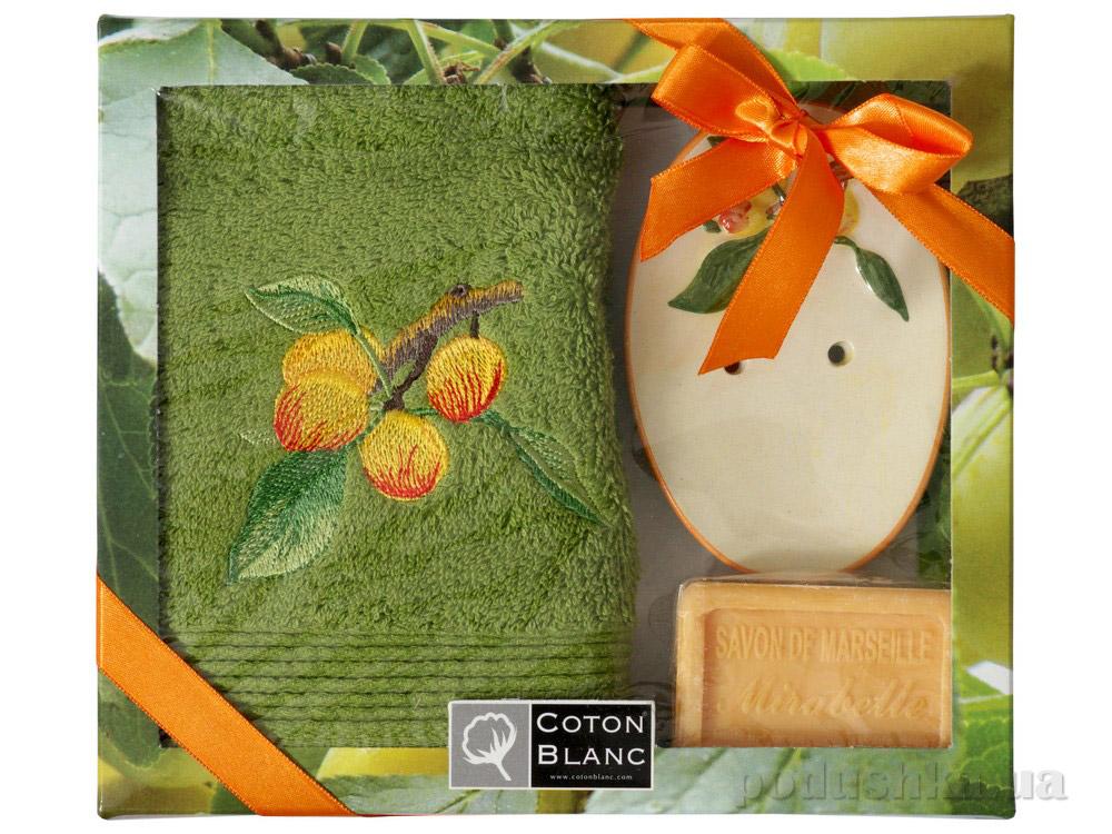 Набор подарочный Coton blanc зелёный (полотенце, мыльница, мыло) 100019