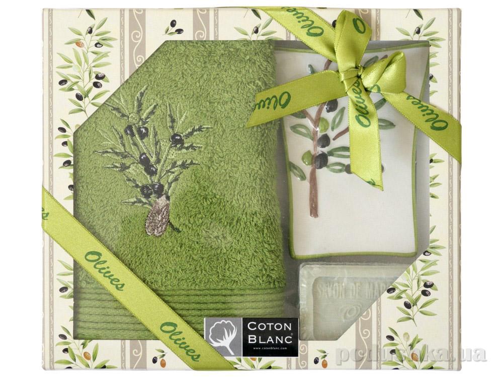 Набор подарочный Coton blanc зелёный (полотенце, мыльница, мыло) 100032