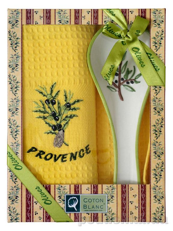 Набор подарочный Coton blanc жёлтый (полотенце, ложка) 100009