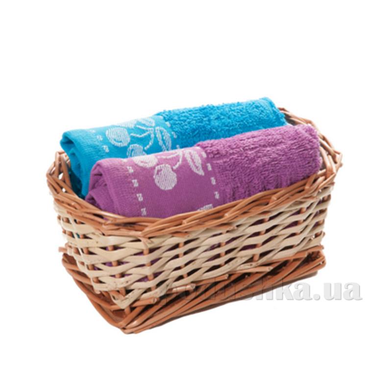 Набор полотенец в корзинке Izzihome 21359 сиреневый+бирюза