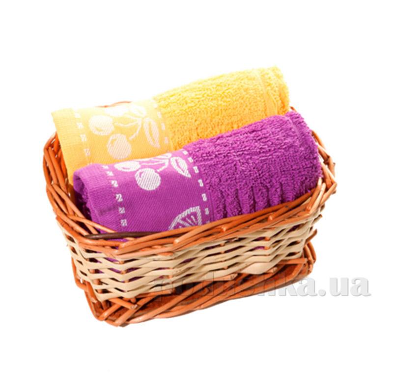 Набор полотенец в корзинке Izzihome 21366 сиреневый+желтый