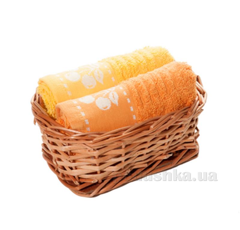 Набор полотенец в корзинке Izzihome 21373 оранжевый+желтый