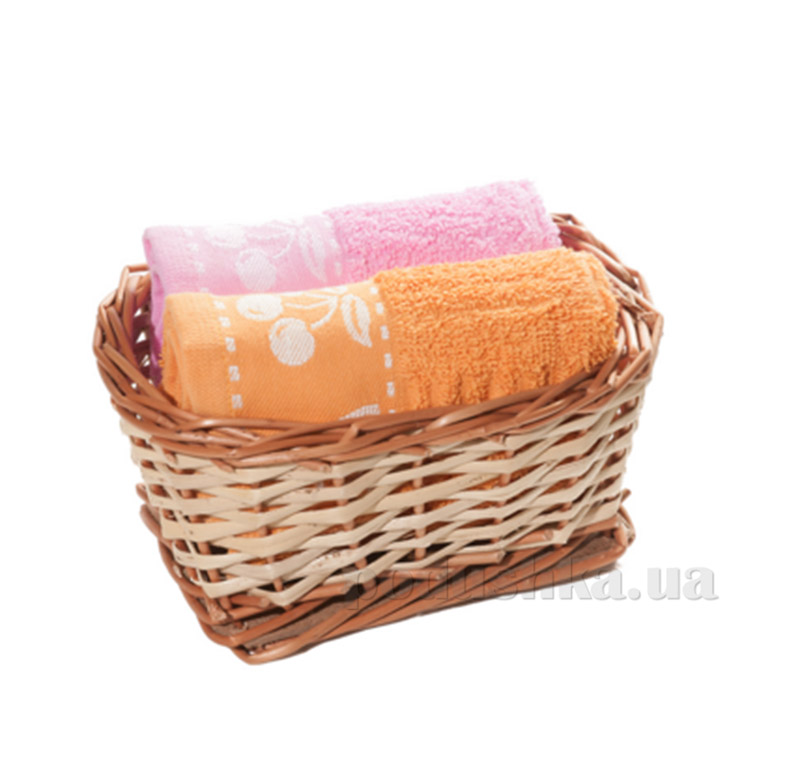 Набор полотенец в корзинке Izzihome 21380 оранжевый+розовый