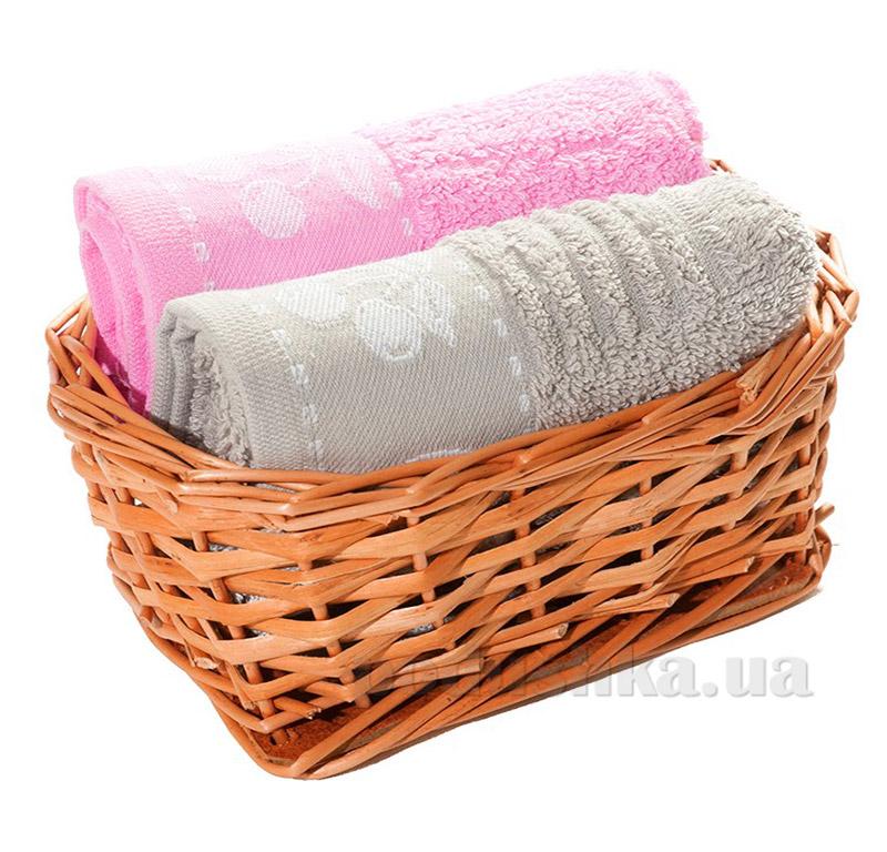 Набор полотенец в корзинке Izzihome 21397 серый+розовый