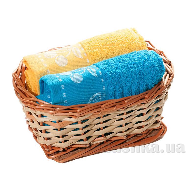 Набор полотенец в корзинке Izzihome 21427 желтый+голубой