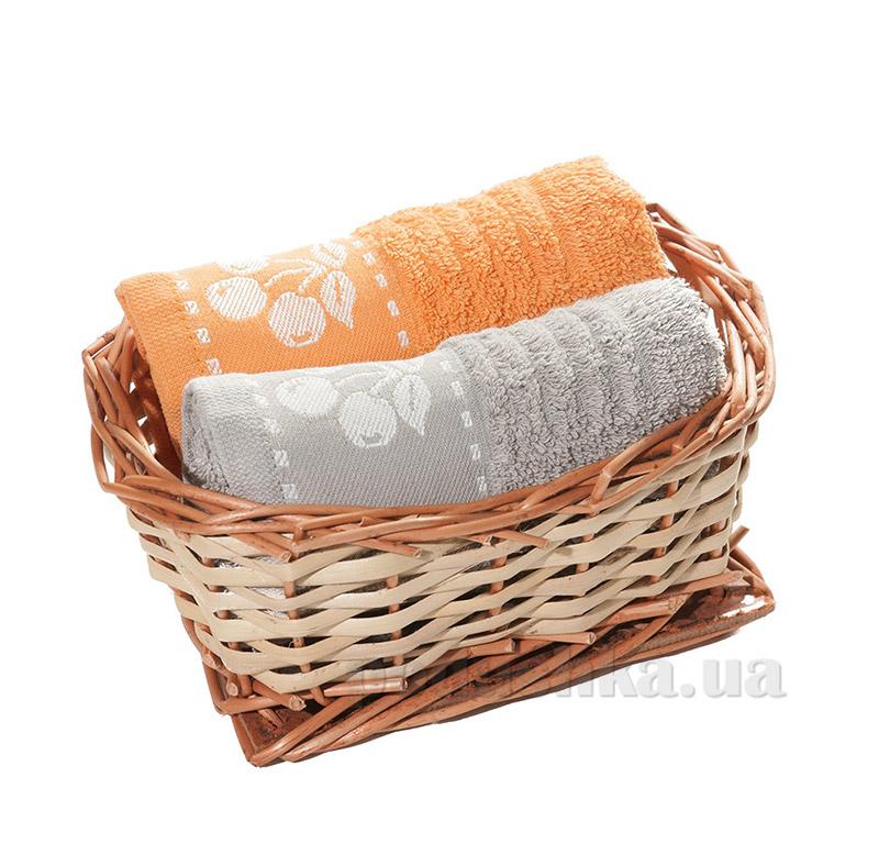 Набор полотенец в корзинке Izzihome 21458 серый+оранжевый
