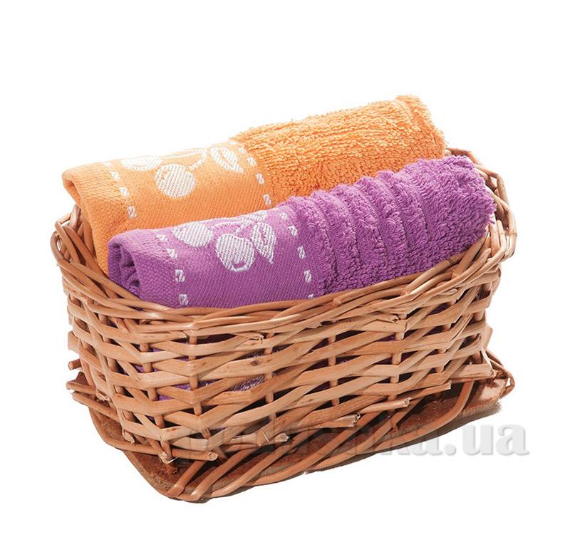Набор полотенец в корзинке Izzihome 21434 сиреневый+оранжевый