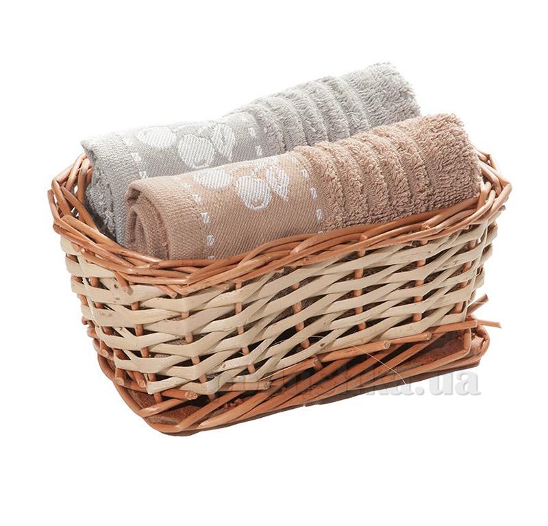Набор полотенец в корзинке Izzihome 21472 бежевый+серый