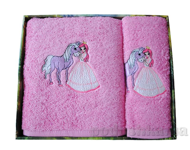 Набор розовых махровых полотенец в коробке Megan Лошади