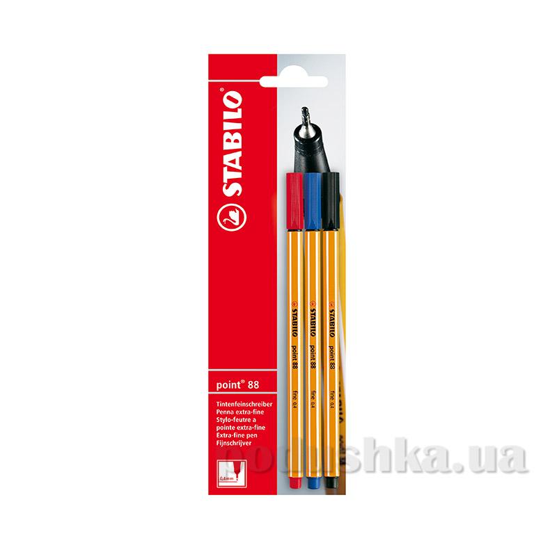 Набор ручек капиллярных Stabilo point 88 B-10213 черный, синий, красный