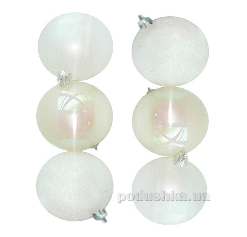 Набор шаров белого цвета 6 шт. Новогодько 971646