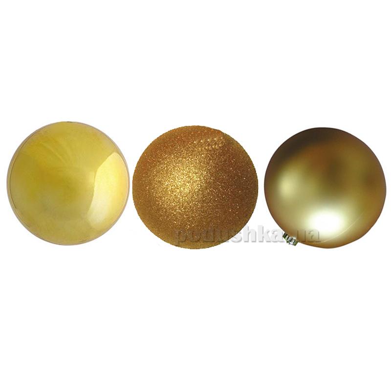 Набор шаров золотого цвета 3 шт. Новогодько 972135