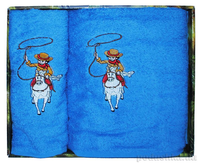 Набор синих махровых полотенец в коробке Megan Лошади