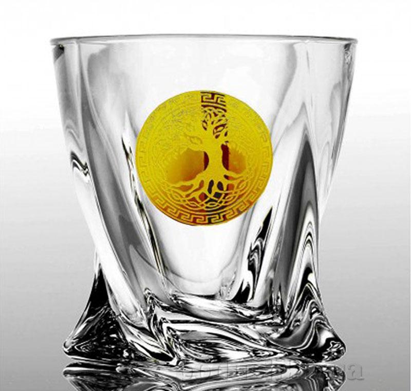 Набор стаканов для виски Bohemia Sklo Quadro Edem золото 6 предметов 13-12-340-6-063
