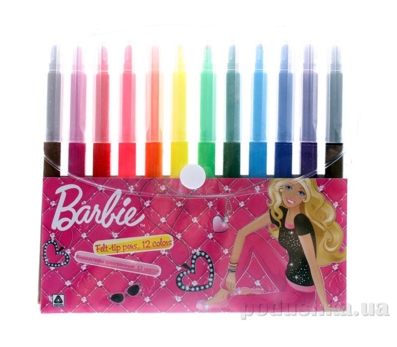 Набор цветных фломастеров с треугольным сечением корпуса Barbie