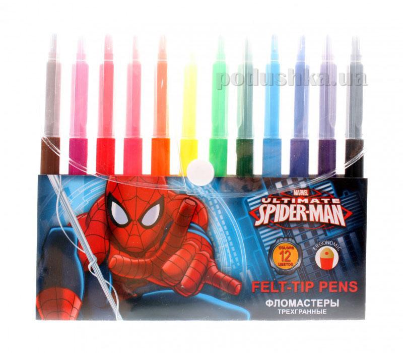 Набор цветных фломастеров с треугольным сечением корпуса Spider Man