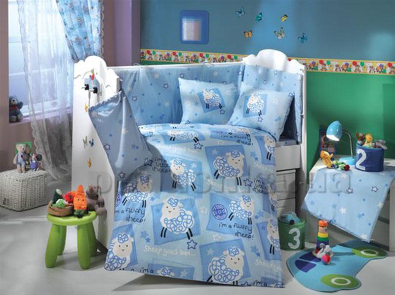 Набор в кроватку для новорожденных Hobby Sateen Little Ship голубой