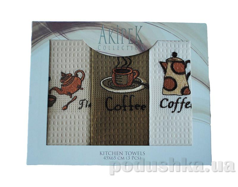 Набор вафельных кухонных полотенец Akipek Кофе-Чай в коробке
