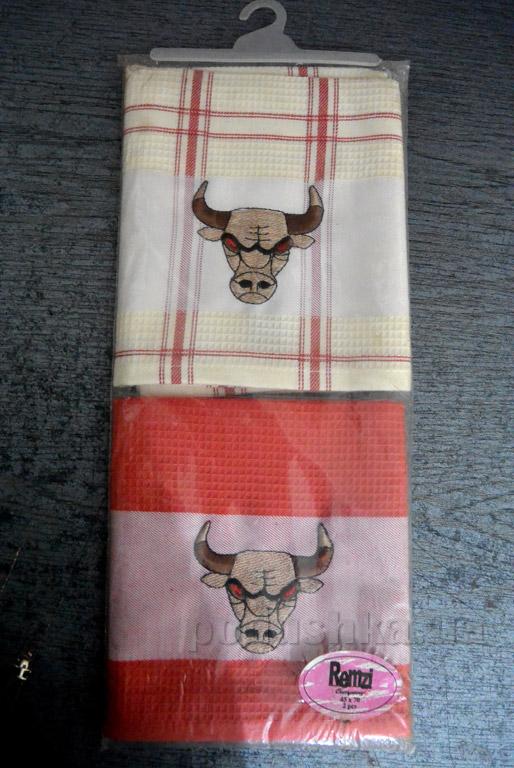 Набор вафельных кухонных полотенец Mariposa 001 Red bull