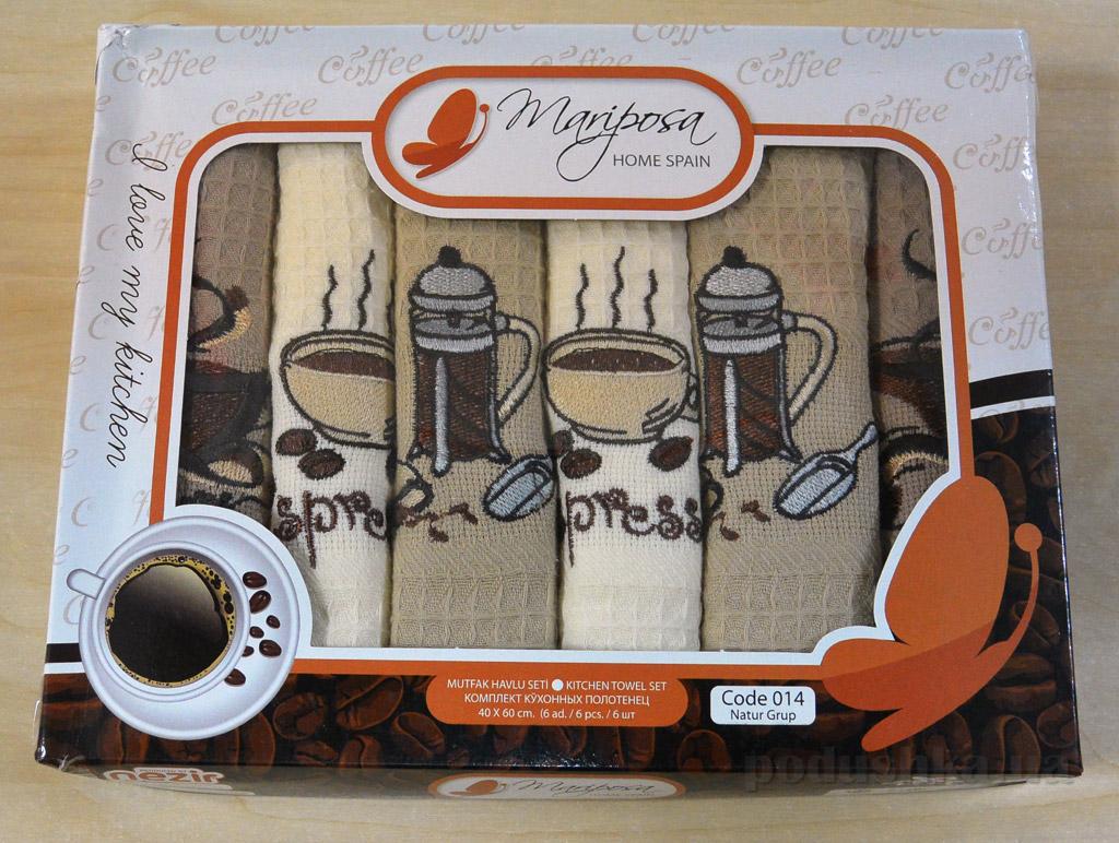 Набор вафельных кухонных полотенец Mariposa 014 Кофе