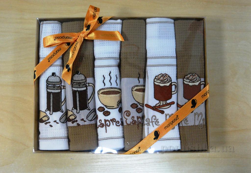 Набор вафельных кухонных полотенец Mariposa 029 Кофе