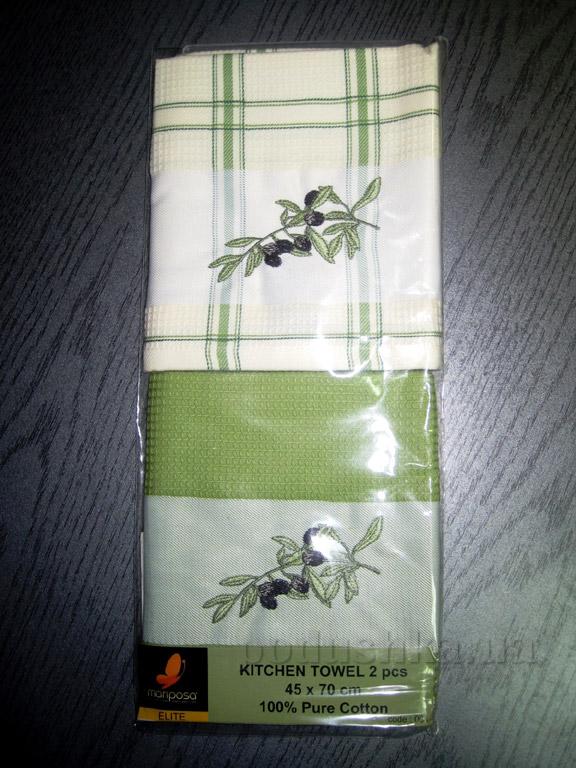 Набор вафельных кухонных полотенец Mariposa Маслины ветка 001