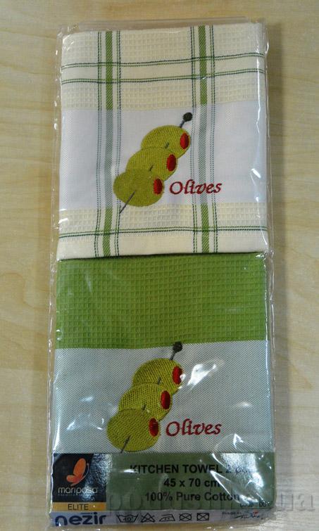 Набор вафельных кухонных полотенец Mariposa Оливки 001