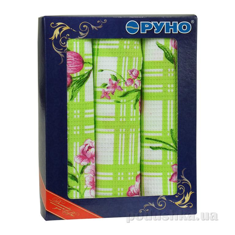 Набор вафельных полотенец Руно Салатовый тюльпан 3 шт