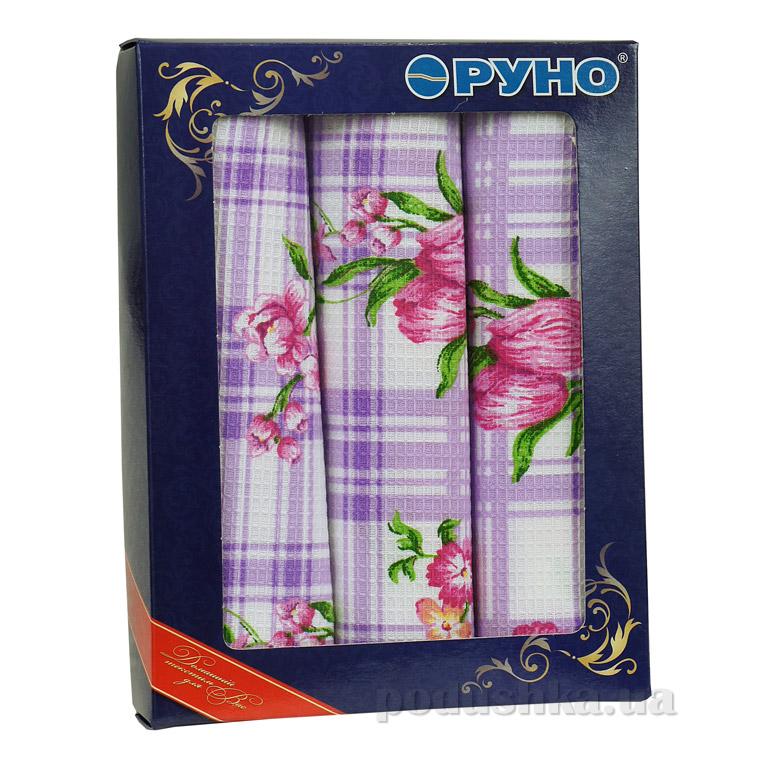 Набор вафельных полотенец Руно Сиреневый тюльпан 3 шт