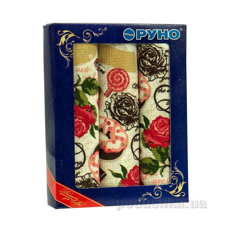 Набор вафельных полотенец Руно Сладости 3 шт