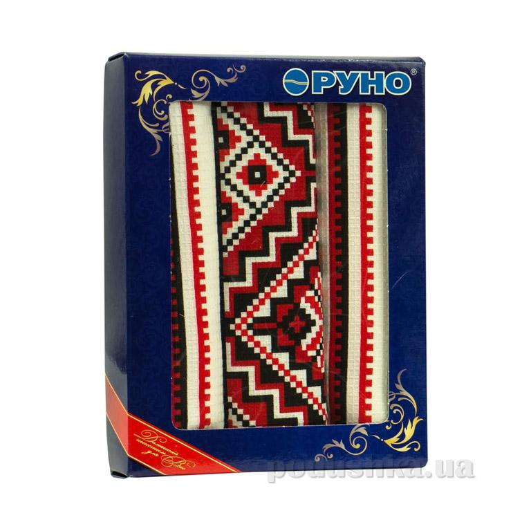 Набор вафельных полотенец Руно Украинский орнамент красный 3 шт