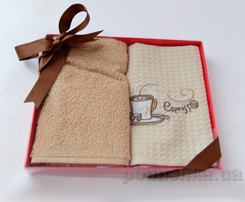 Набор кухонных полотенец в коробке Ella Line Кофе