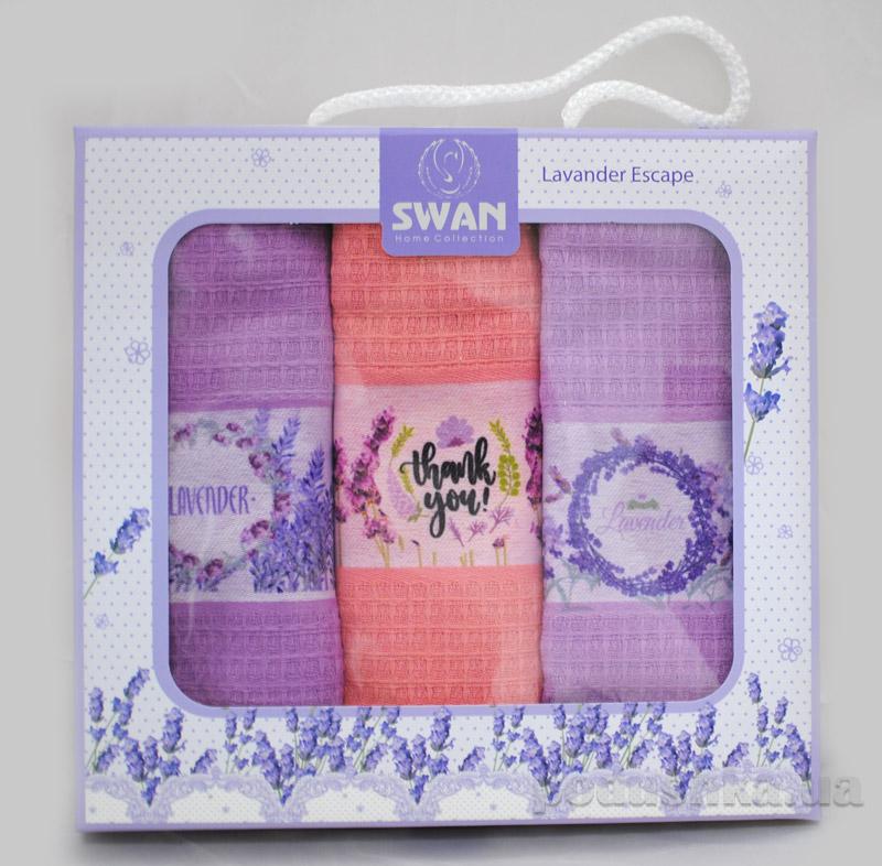 Набор вафельных полотенец в коробке Лаванда