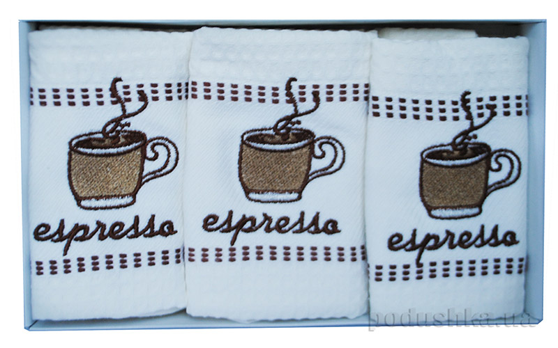 Набор вафельных полотенец в коробке Megan Espresso