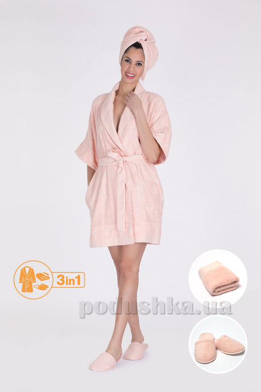 Набор женский Hays 6577 халат, полотенце и тапочки L/XL  Hays