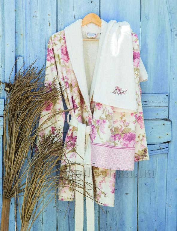 Набор женский Karaca Madre pudra халат и полотенца S/M и 2 полотенца Karaca home