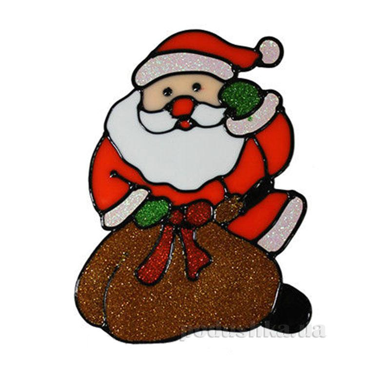 Наклейка с глиттером Дед мороз с мешком Канцактив