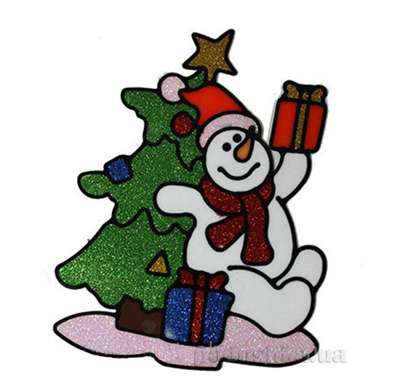 Наклейка с глиттером Снеговик и елочка Канцактив