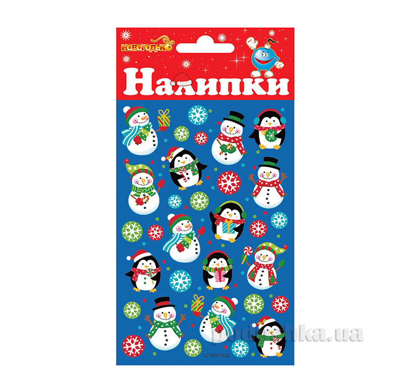 Наклейки Новогодько Снеговички и Пингвины 800833