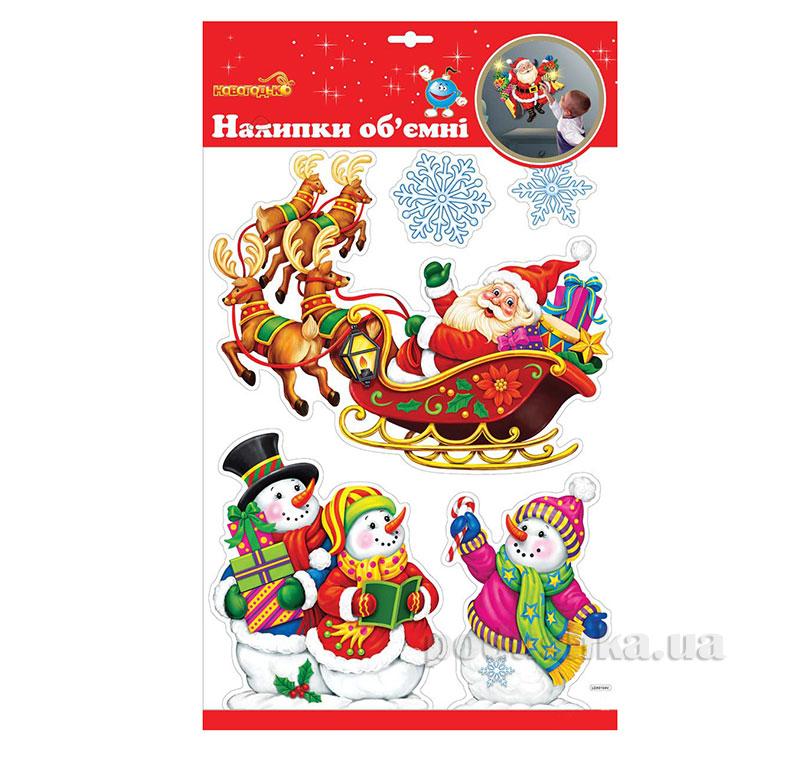 Наклейки объемные для окон Новогодько Рождественские Сани 800780