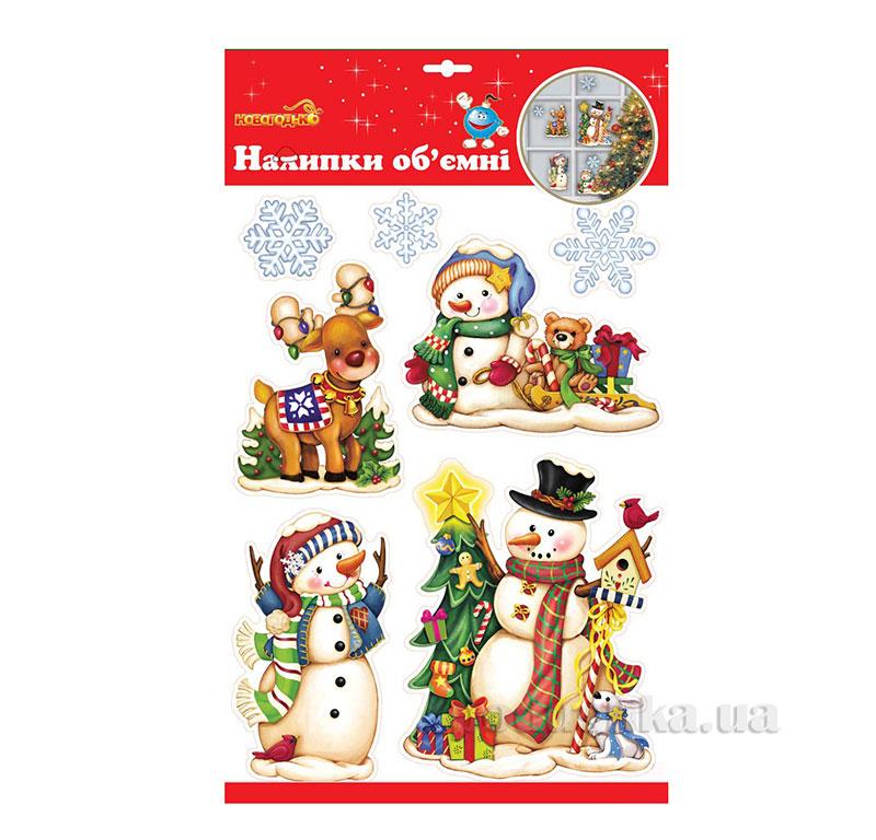 Наклейки объемные для окон Новогодько Снеговичок с подарками 800779
