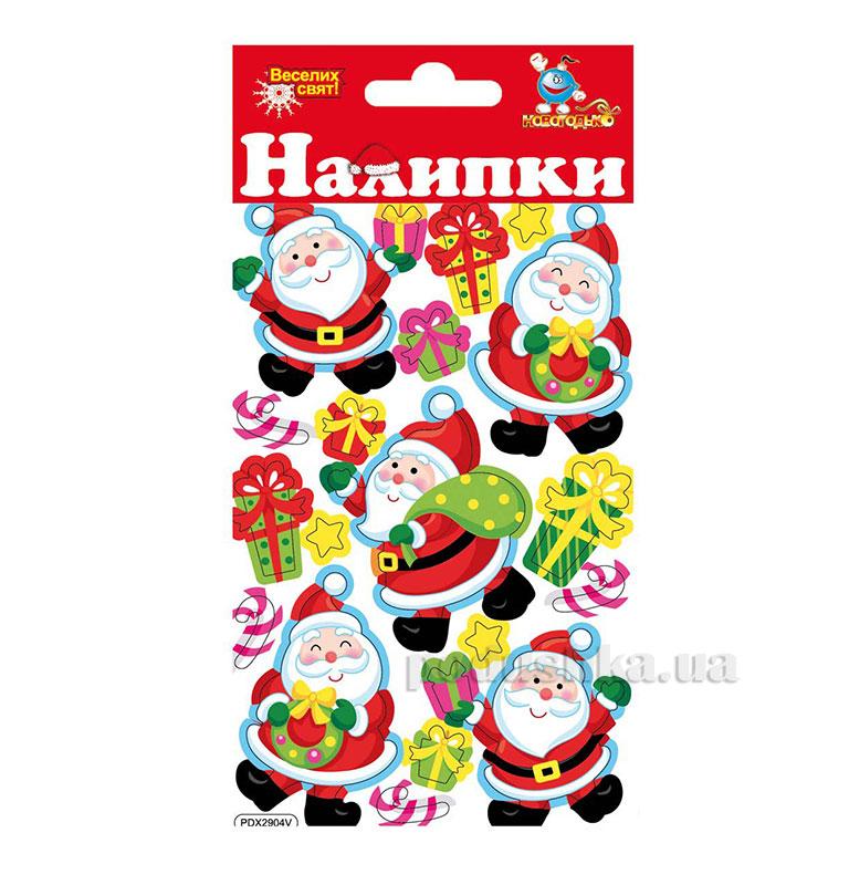 Наклейки объемные Новогодько Санта Клаус 800714