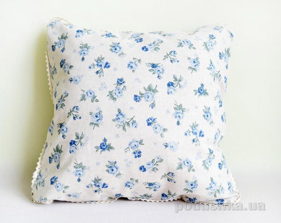 Наволочка декоративная Прованс Blue rose с кружевом
