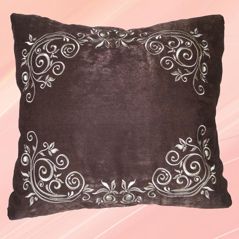 Наволочка декоративная с вышивкой Украина Н10-Класика коричневая