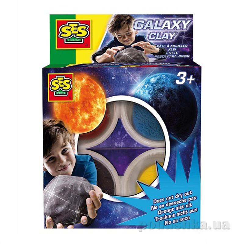 Незасыхающая масса для лепки с блестками Галактика Ses 0454S