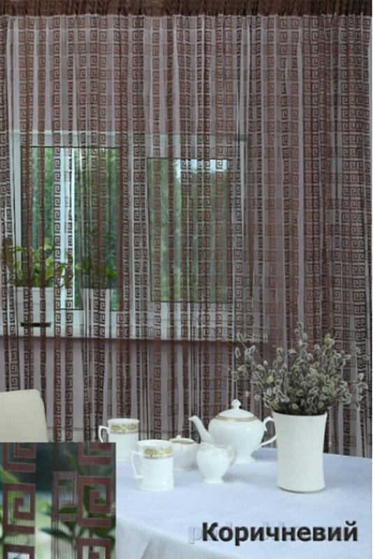 Нитяная штора Arya At104 коричневая