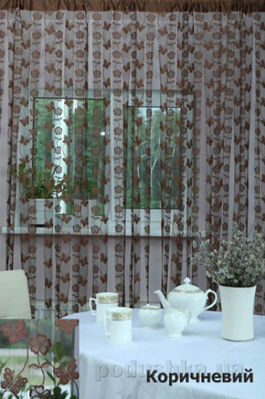 Нитяная штора Arya At177 коричневая