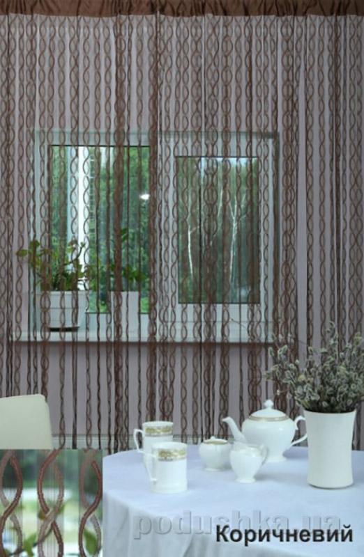 Нитяная штора Arya At191 коричневая