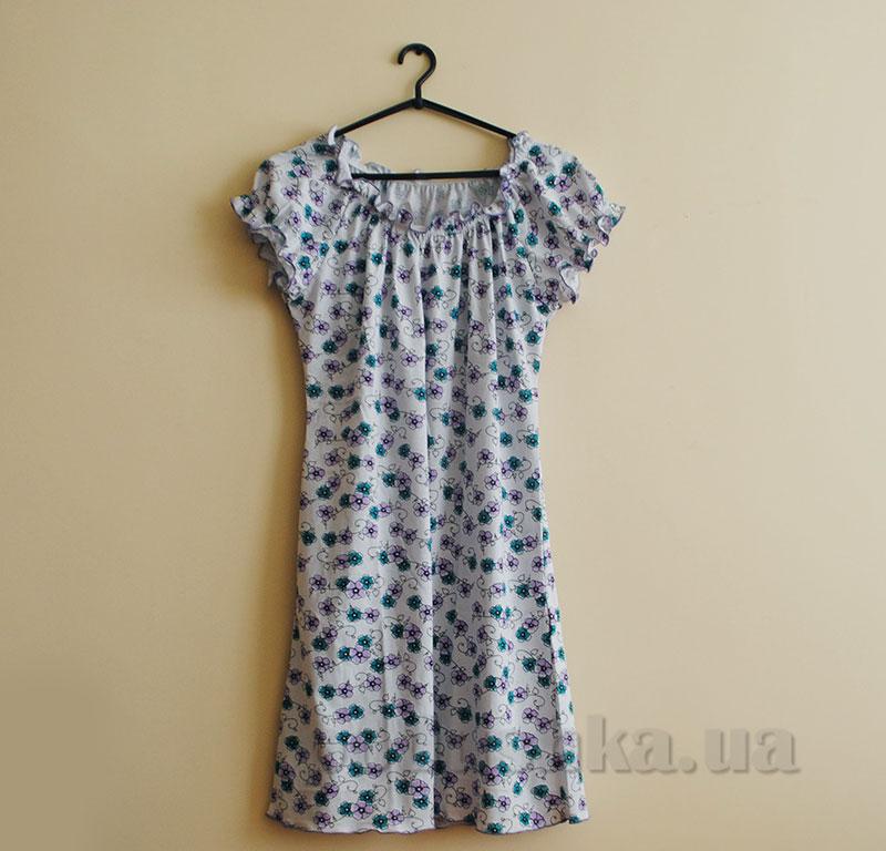 Ночная рубашка МТФ 553 голубые цветы