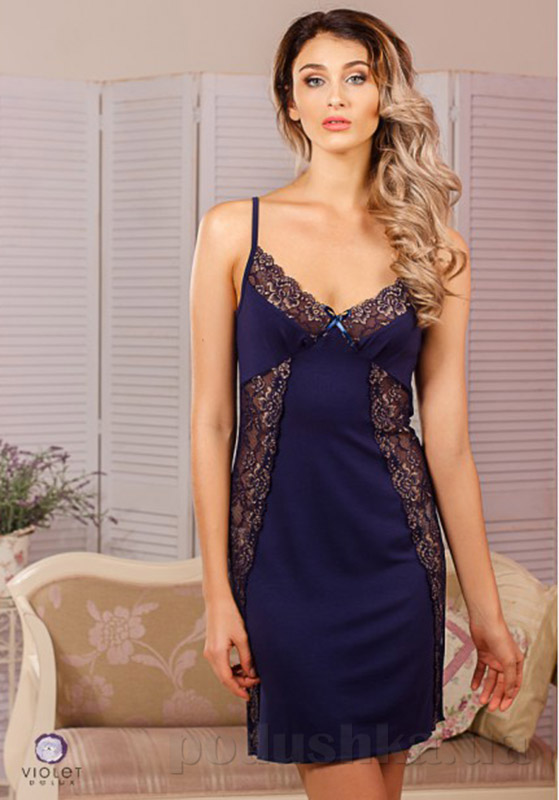 Ночная сорочка с регулятором Violet delux НС-М-22 синяя